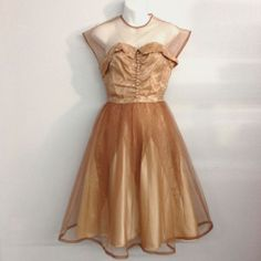 1950s Caramel and Nude Tone Tulle and Satin Cocktail/ Formal Dress #Unknown