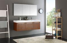 "Fresca Vista 60"" Teak Wall Hung Double Sink Modern Bathroom Vanity w/ Medicine Cabinet & Free Faucet"
