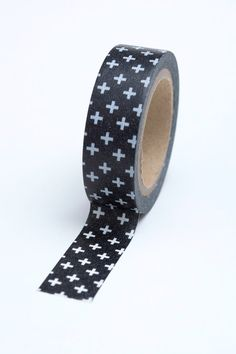 Washi Tape - 15mm - White Plus Signs on Black - Deco Paper Tape No. 700