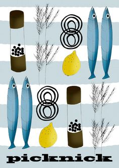 Swedish style 'Picknick' Print - retro inspired,mid-century, kitchen print, picnic.