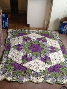 Crochet quilt pattern- one day I'll know how to do this... And I think the two cases of beer in the picture is funny.