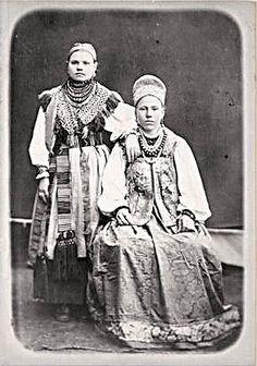 Крестьянские женщина и девушка Сольвычегодского уезда,Влогодской губ. Народный, Костюмы, Азия, Европа, Painting