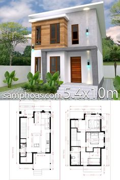 Architecture House Small Small Home design Plan with 3 Bedroom - SamPhoas Plansearch 2 Storey House Design, Duplex House Design, Simple House Design, House Front Design, Tiny House Design, Modern House Design, Small Home Design, Model House Plan, My House Plans