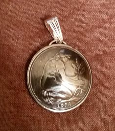 Germany 50 Pfennig Woman Planting Oak Tree Coin Domed Pendant - pinned by pin4etsy.com