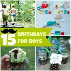 15 Fantastic Birthdays for Boys!!! (These are great!) Just click on the picture > click on the arrow on the right side > scroll through the ideas > if you find one that you want more details on just click on the banner at the bottom with the name of the theme > takes you to the link on party theme ideas. Enjoy!