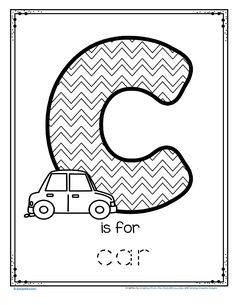FREE C is for car trace and color printable #freeprintable #carpreschool #tracing #preschoollearning