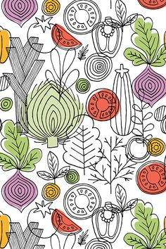 Vegetables illustration by adehoidar.  Hand illustrated vegetables in black and white with purple, green, and orange highlights.  Available in fabric, wallpaper and gift wrap.