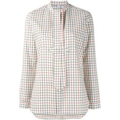 Marie Marot 'Georgia' checked blouse ($253) ❤ liked on Polyvore featuring tops, blouses, white, white blouse, white cotton blouse, white collared blouse, checked blouse and tie blouse