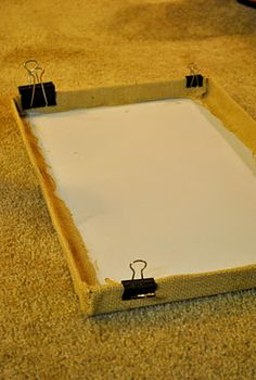 To cover shoebox lid with burlap - spray adhesive and binder clips to hold while it dries.