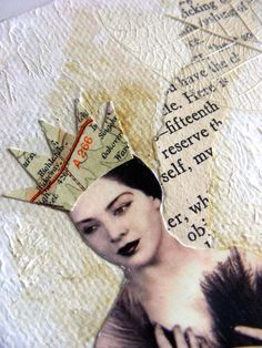 Mixed media collage on canvas   Queenie by JaneLeeHorton on Etsy.