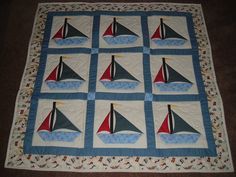 Sail Boat baby quilt Nautical Quilt, Landscape Art Quilts, Baby Boy Quilts, Decorative Throws, Quilt Patterns, Crafty, Prints, Baby Blankets, Sailboat