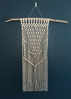 Large Symmetrical Macrame Wall Hanging on door beeWEAVEitorKNOT