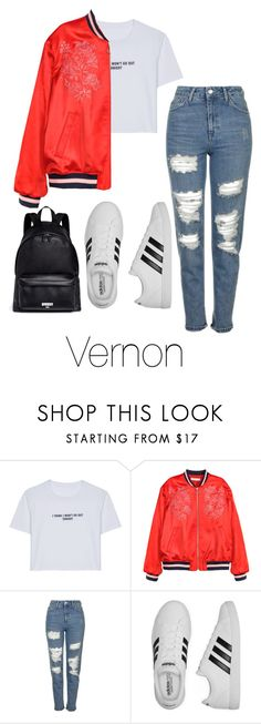 """First Day of School with Vernon"" by seoulisticday ❤ liked on Polyvore featuring WithChic, H&M, Topshop, adidas, Givenchy, kpop, seventeen, hansol, vernon and seventeenoutfits"