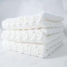 Dishcloth Set Crisp White Cotton Crochet  3 Pack by CBendeavors, $15.00