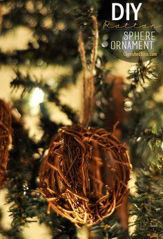 DIY Rattan Sphere Ornament Tutorial - Cherished Bliss