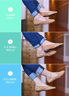 How to roll skinny jeans with flats