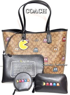 COACH X PAC-MAN LTD Ghost Signature Tote, Cosmetic Bag, Coin Purse  amp 1403e1c34c