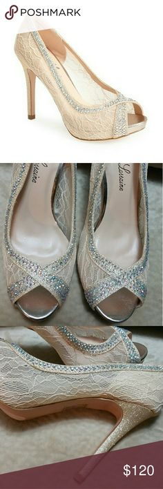 "Shoes Crystal Embellished Lace Pump Possible for wedding shoe  Height 3 1/3 "" I bought it for family wedding but never wear it New but no boxes Lauren Lorraine Shoes Heels"