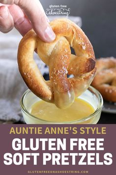 Going to the mall to get a buttery, warm Auntie Anne's soft pretzel is a tradition for many families. Now you can make homemade, gluten free soft pretzels in your kitchen the easy way! Use my video re Gluten Free Pretzels, Gluten Free Sweets, Gluten Free Cooking, Dairy Free Recipes, Gluten Free Appetizers, Gluten Free Bagels, Gluten Free Biscuits, Wheat Free Recipes, Gf Recipes