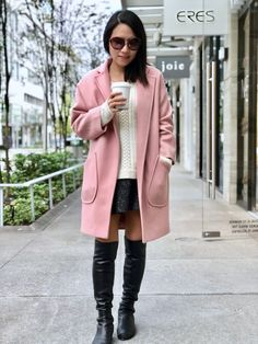 Pink peacoat and Alice & Olivia boxy sweater