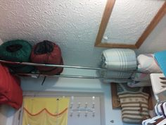 Add 2 shower curtain tension rods extended above laundry room or closet door to . Add 2 shower curtain tension rods extended above laundry room or closet door to store light weight Apartment Closet Organization, Diy Organization, Diy Storage, Tour Du Canada, Tension Rods, Tension Rod Curtains, Diy Curtains, Diys, Laundry Room