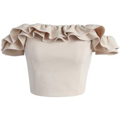 Chicwish Precious Moment Ruffled Off-shoulder Crop Top in Beige (120 BRL) ❤ liked on Polyvore featuring tops, shirts, crop top, crops, beige, ruffle shirt, ruffle crop top, shirt crop top, off the shoulder tops and flutter-sleeve top