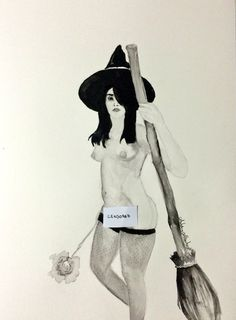 Nude Witch watercolour painting
