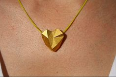 SOLID+HEART++3D+printed+gold+geometric+heart+by+ButterscotchofBK,+$145.00