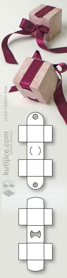 Cube ribbon box (die cut form) by matilda Diy Gift Box, Diy Gifts, Gift Boxes, Diy Paper, Paper Crafts, Paper Art, Ribbon Box, Ribbon Wrap, Papier Diy