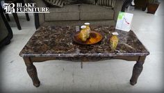 Add a natural touch to your living room with this marble top coffee table! #marble #marbletop #coffeetable