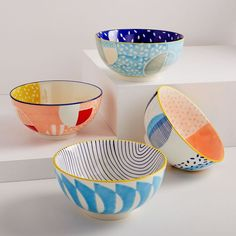 Hand-Painted Pattern Pop Bowls - Large - - Vibrant patterns and color on our hand-painted Pattern Pop Bowls take your mealtime from ordinary to extraordinary. Mix and match to create your own unique set. Pottery Painting Designs, Pottery Designs, Paint Designs, Pottery Bowls, Ceramic Pottery, Slab Pottery, Thrown Pottery, Pottery Wheel, Ceramic Painting