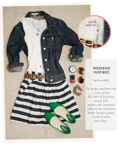 Liz Lange for Target top ( similar here )  //  J.Crew denim jacket (latest version here )  //  Forever 21 skirt ( similar here )  //  Tar...