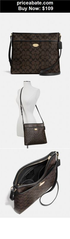 Women-Handbags-and-Purses: NWT COACH BROWN/BLACK SIGNATURE LEATHER CROSSBODY SHOULDER HANDBAG BAG PURSE - BUY IT NOW ONLY $109