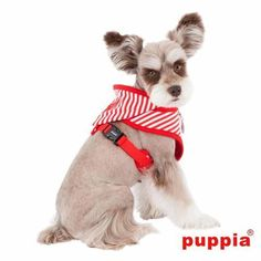 Beach Party Adjustable Dog Harness by Puppia - Red with Hood