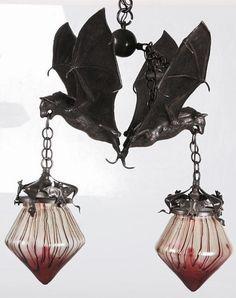 Austrian Bronze Bat Pendant Lamp