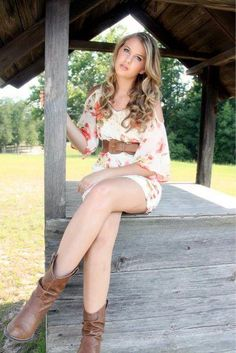 11-Southern Senior Pictures Cowboy Boots Dress Curly Hair