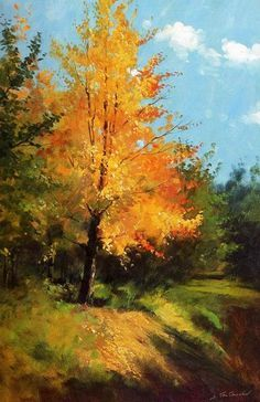 landscape painting S. Watercolor Trees, Watercolor Landscape, Landscape Art, Landscape Paintings, Fall Tree Painting, Autumn Art, Pastel Art, Tree Art, Beautiful Paintings