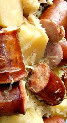Crock Pot Sausage, Sauerkraut and Potatoes - super comfort food dish