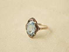 Art Deco pietra blu argento 830 anello anello antico di FromAttic