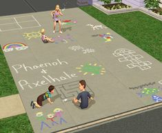 Mod The Sims - -Floor Overlays- Add Character to Your Lots! (Sidewalk Chalk!)