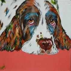 english springer spaniel print, spaniel art, english springer spaniel artwork, dog portrait, pet portrait