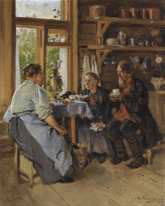 Vladimir Egorovich Makovsky 1846-1920 VISITING THE COOK signed in Cyrillic and dated 1912 l.r. oil on panel, 41.2 by 32.5cm