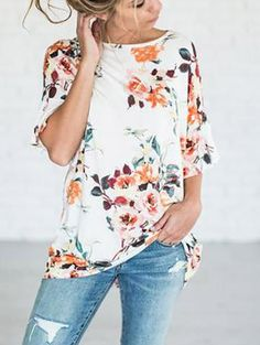 Cute Over Size Round Neckline Floral Print Top