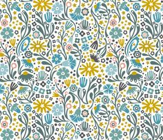 Nordic Suzani Floral (Winter) fabric by christinewitte on Spoonflower - custom fabric