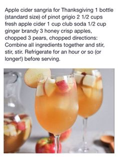 Thanksgiving Sangria - I'm in charge of making this! Holiday Drinks, Party Drinks, Holiday Treats, Fun Drinks, Yummy Drinks, Holiday Sangria, Beverages, Cocktails, Apple Cider Sangria