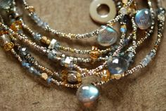 Long Gemstone Necklace Reclaimed Antique Beads Moss by Petaluna, $185.00