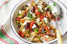 This tasty vegetarian side is a colourful combination of eggplant, feta and crunchy pine nuts. (Replace feta with a vegan option) Vegetarian Recipes Easy, Veggie Recipes, Salad Recipes, Cooking Recipes, Healthy Recipes, Free Recipes, Healthy Food, Vegetarian Dish, Veggie Food