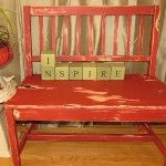 A boring old bench painted with Buttah then Lipstick and then distressed.