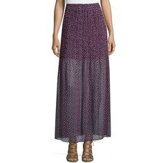Bcbgmaxazria Printed Chiffon Maxi Skirt ($79) ❤ liked on Polyvore featuring skirts, navy sea m, long skirts, navy chiffon maxi skirt, navy maxi skirt, navy blue chiffon maxi skirt and long chiffon skirt