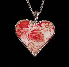 Red toile daisy Broken China Jewelry Heart by dishfunctionldesigns. $40.00, via Etsy.